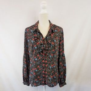 Free People Black Floral Print Ruffle Neck Blouse